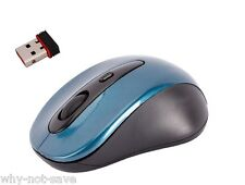 Blue Wireless Optical mouse with Mini usb receiver for Dell Toshiba Apple Laptop