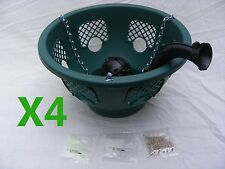 4x 12 inch Green Plantopia Easy Fill Hanging Basket +4 New Water Fountain Device