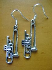 "GREAT GIFT  ""trombone"" Tibet Silver CHARM earrings/ 925 S S Stamped HOOKS"