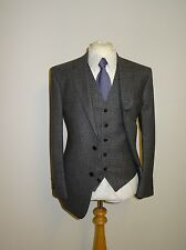 EDE & RAVENSCROFT - Mens GREY 3 PIECE TWEED SUIT - 42 Long - W36 L36 - BRAND NEW