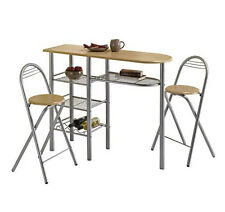 3pc Breakfast Bar Table And 2 Chairs Set Compact Kitchen Dining Room Furniture