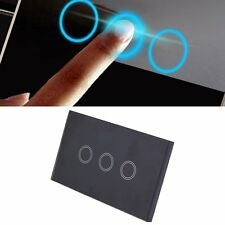 Professional 3 Way Gang Touch Light Wall Switch Glass Panel LED Backlight LO