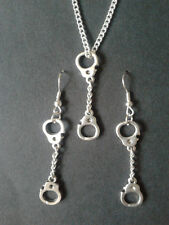Handcuff Earrings and Necklace Set * Novelty Jewellery bondage police