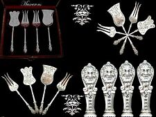 Rare French all  sterling silver hors d'oeuvre  dessert set 4pc w/box  MASCARONS