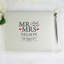 White PERSONALISED Mr & Mrs Guest Book and Pen Set - Wedding Gift - Sign Message