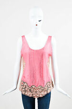 Blumarine Coral Pink Nude Floral Lace Beaded Tank Top SZ 42
