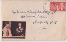 Stamp Australia 3&1/2d red QE2 on cover for 1954 Royal Visit Royal Tour cachet