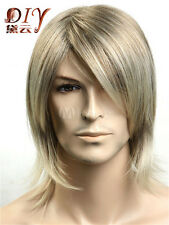 Hot Sell Natural Men Blonde Mix Medium Straight Synthetic Hair Cosplay Full Wig