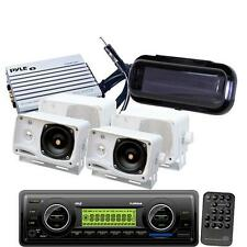 New Marine Boat MP3 USB AUX WB Radio Media Player 4 White Box Speakers +400W Amp