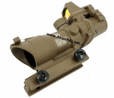 ACOG Style In Tan 4X Fiber Optics Red Illuminated Rifle Scope+RMR Micro Red Dot