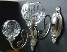 *EXCELLENT* Waterford Crystal LISMORE (1957-) Set of 2 Wall Sconces Silver Luna