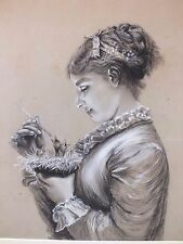 Beautiful original old b/w antique drawing of a young woman feeding baby birds