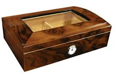 The Addison Walnut Glasstop 40 Cigar Humidor Case with Humidifier / Hygrometer