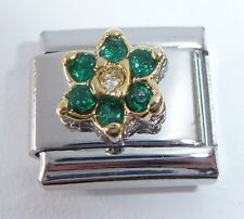 GREEN FLOWER GEM Italian Charm May Birthstone 9mm fits Classic Starter Bracelets
