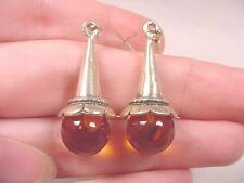 pe56-a) orange AMBER Poland round cone flower .925 Sterling SILVER stud EARRINGS