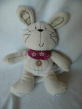 "next cream bunny soft toy strippy ears and feet 11""with pink scarf"