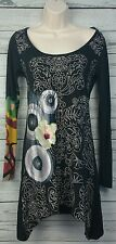 Desigual Black Asymmetrical Jersey Dress Artsy Graphic Print Funky Size Small