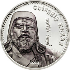 2014 Mongolia Large Silver Proof 500 T Ghengis Khan