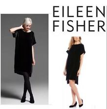 L NWT  Eileen Fisher Black Washable Velvet Bateau Neck Shift Dress $338