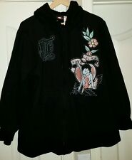 Jerry Leigh-Betty Boop Pin Up Cartoon Full Zip Hoodie Jacket-3X (22W-24W)