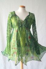 Green tie dye fairy pixie medieval pagan handfasting blouse dress 10-12