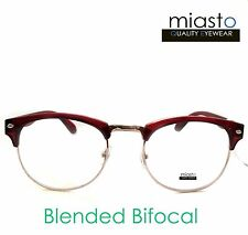 MIASTO LARGE RETRO OVERSIZED BROWLINE READER READING GLASSES+1.00~BIFOCAL (RED)