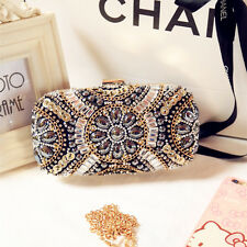 Vintage Designer Bridal Women Black Crystal Glitter Evening Clutch Bag Handbags