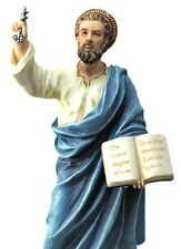 Statue St Peter Saint Holding Key to Heaven with Book Hand Painted Full Color