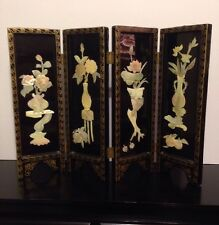 BEAUTIFUL Oriental Black Lacquer Folding Table Top Screen Mother Of Pearl Flower