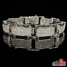 Mens 14k White Gold Plated Simulated Diamond Bracelet Hip Hop Chunky Link Style