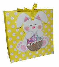 Small Square  Gift Bag with handles and Bunny Tag  Yellow Easter