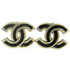 """Authentic CHANEL Vintage CC Logos Silver Earrings 0.7 - 0.8 """" Clip-On AK12792"""
