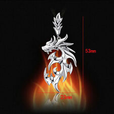 Silver Dragon Pendant Stainless Steel fanshion Men Necklace With Leather Chain