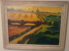 River Bridge & City Fauvist/Expressionist Oil Painting-60s-Israel Louis Winarsky