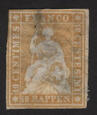 1859 Switzerland, 10C, Color Error, Yellow like the 20c, Sc 21, Mi 14
