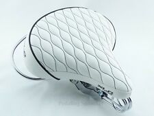 XLC Classic Beach Cruiser Bicycle Saddle Diamond Web Spring White Bike Seat