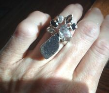 Black Druzy herkimer diamond 925 sterling Cluster Beautiful Ring Size 7.75 NWOT