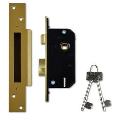 Willenhall Locks M3 5 Lever Mortice Door Sashlock 50mm Brass Keyed Differ 4837