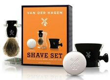 MENS SHAVING KIT - BRUSH SOAP RAZOR MUG - shave travel set beard grooming barber