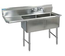 "Bk Resources Two 24""X24""X14"" Compartment Sink S/S Leg 24"" Left Drainboard - Bks-"