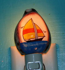 PURPLE TOP COWRIE SHELL NIGHT LIGHT WITH PAINTED SAIL BOAT, DECOR CRAFT REEF