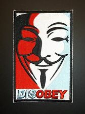 Anonymous Vendetta Guy Fawkes Anarchy Hacker~DISOBEY~Embroidered Patch~Sew Iron