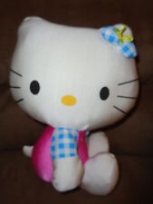 "Hello Kitty Cherries pink blue checkers Nakajima 10"" stuffed push 2005 Sanrio"