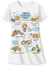 "Relevant Products ""How to sleep with a dog"" white sleep night shirt cotton"