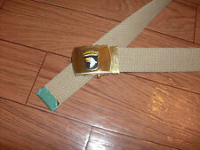 US MILITARY STYLE KHAKI WEB BELT WITH 101st AIRBORNE BRASS BUCKLE