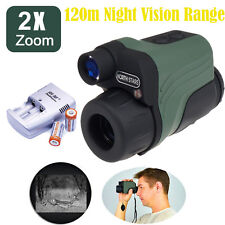 Night Vision Goggles Zoom Monocular IR Security Surveillance Hunt Scope+Battery