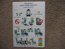 Finnair Airbus A330 300 Airline Safety Card