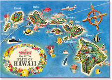 Hawaiian Art Collectible Refrigerator Magnet - Hawaiian Airlines State Map