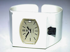 Vintage FRANCE White Plastic Fashion Cuff Windup Wristwatch w/ Skeleton Back