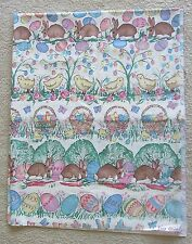 """EASTER FABRIC Rabbits Bunnies Chicks Eggs Basket 96"""" X 60"""" Broadcloth tablecloth"""